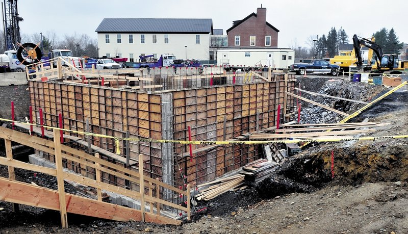 Construction progresses on the new science building at Colby College in Waterville.