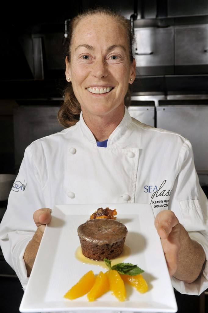Karen Voter, sous chef at Sea Glass at Inn by the Sea in Cape Elizabeth, serves a sticky toffee pudding cake that is good for busy Thankgiving cooks because it's easy to make and can be done at least a day ahead.