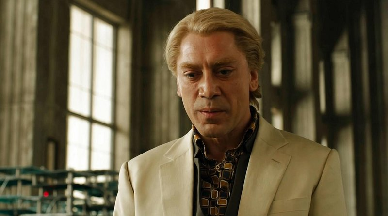 """The previous two Bond films had wanted for a worthy villain. Javier Bardem, as a murderous hacker, solves that problem in """"Skyfall."""""""