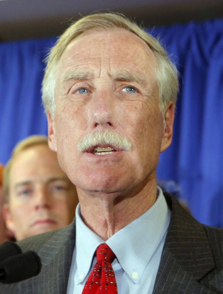 Former Gov. Angus King talks to supporters in Freeport after being declared the winner in Maine's U.S. Senate race Tuesday.