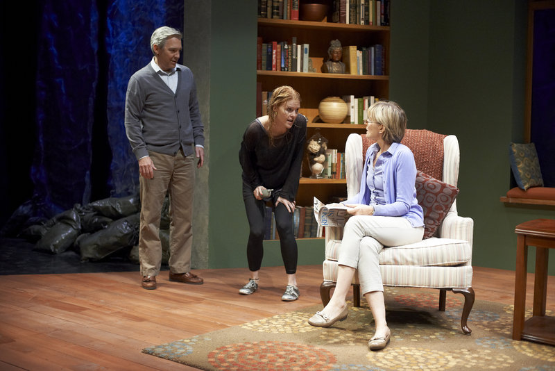 """David Adkins, Lesley Shires and Corinna May in """"Homestead Crossing,"""" now running at Portland Stage Company."""