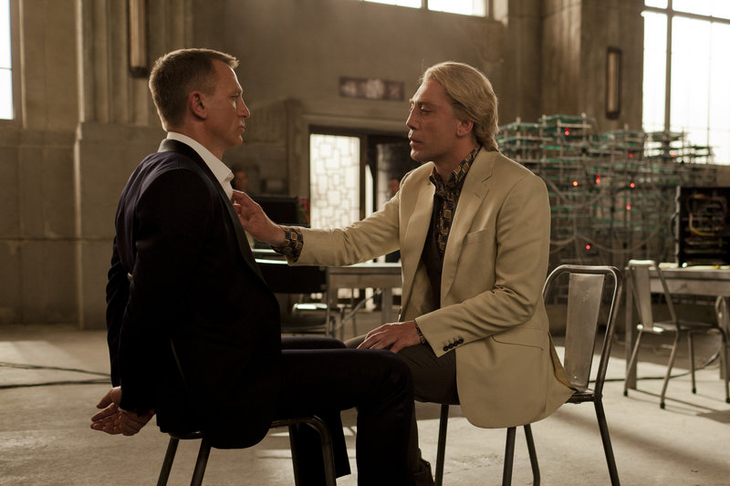 """Daniel Craig, left, and Javier Bardem in a scene from """"Skyfall."""" Bardem says the first Bond movie he saw was """"Moonraker' when he was 12. He liked Jaws, the steel-toothed henchman in the film."""