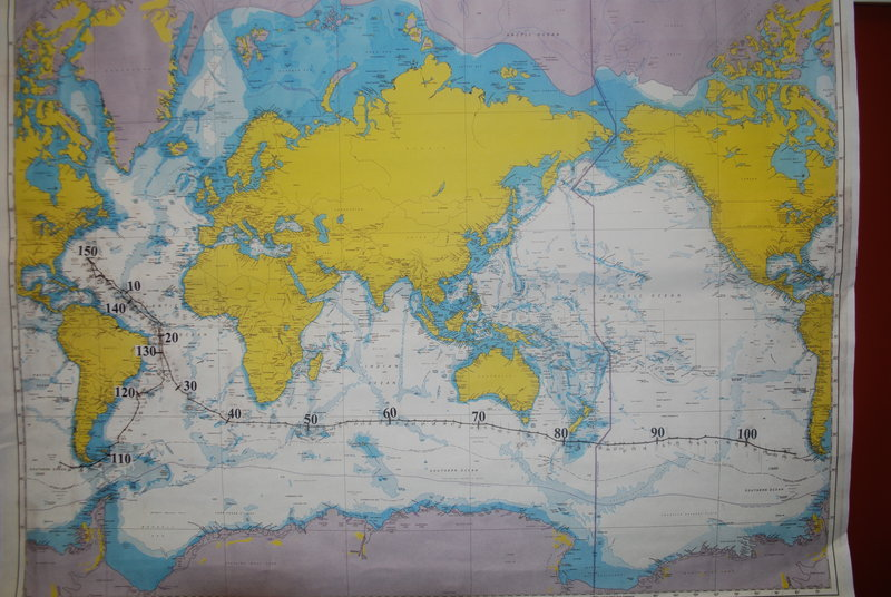 The map of sailor Dodge Morgan's 1986 world record for a solo nonstop circumnavigation of the globe. Stanley Paris had the map made because he intends to break Morgan's record of 150 days.