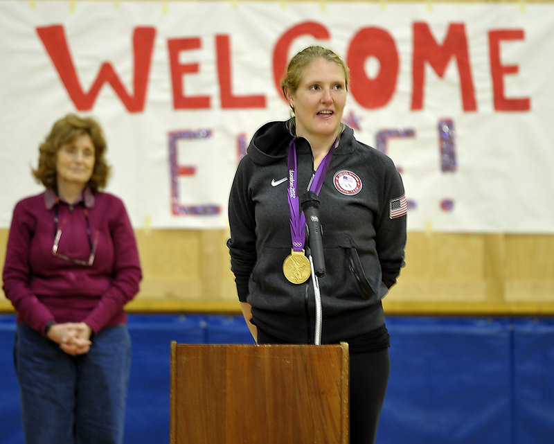 Olympic gold medalist Elle Logan speaks Friday at a gathering of Boothbay Elementary School students.