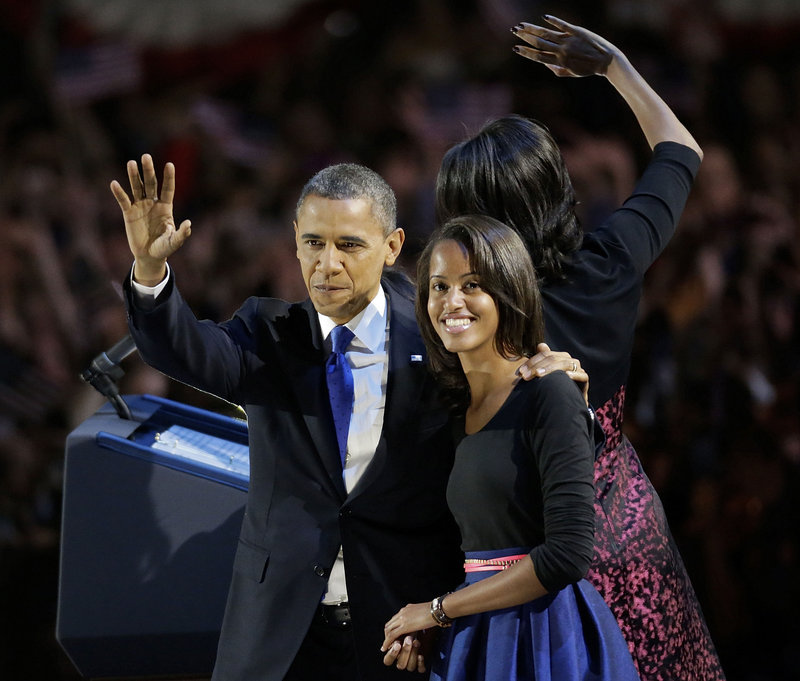 """President Obama and his daughter Malia wave toward the crowd at his election night party in Chicago on Wednesday. """"A complicit, completely biased liberal media machine"""" ignored the many examples of the president's incompetence and pressed for his re-election, a reader says."""