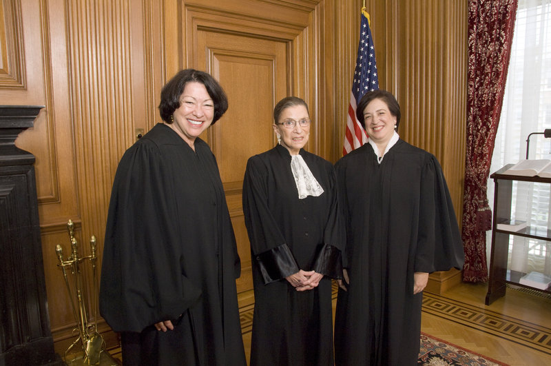 This 2010 file photo shows, from left, U.S. Supreme Court Justices Sonia Sotomayor, Ruth Bader Ginsburg and Elena Kagan. The oldest of the court's nine members, 79-year-old Ginsburg, has indicated she might retire in the next few years.
