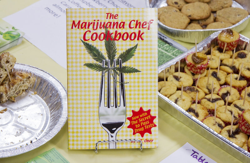 A vendor displays various treats at Saturday's show as an alternative ways to consume marijuana for medical purposes.