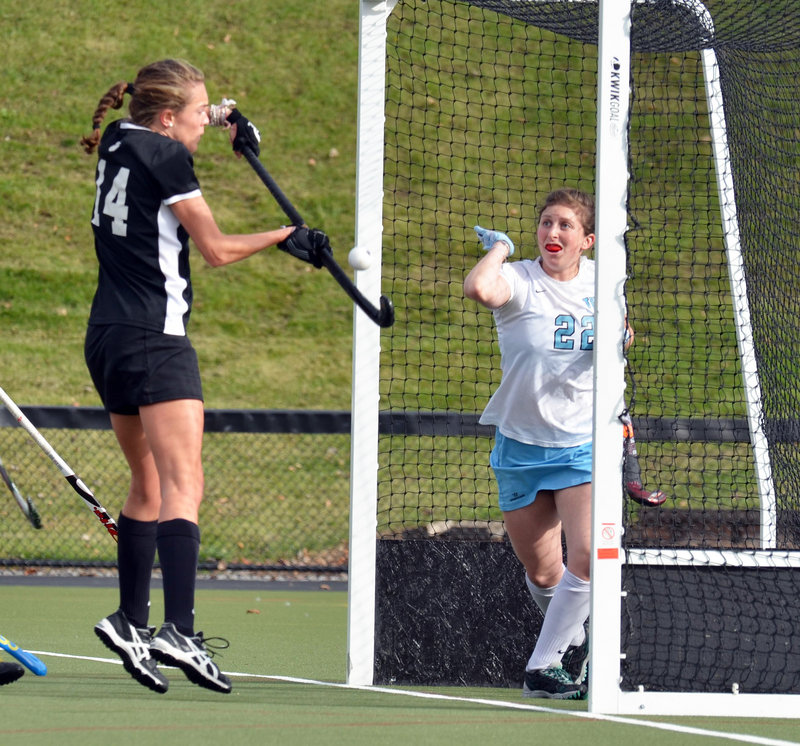 Lauren Schroeder bats a ball out of midair to score Bowdoin's only goal Sunday in an NCAA Division III field hockey quarterfinal against Tufts. Tufts rallied in the second half for a 2-1 win.