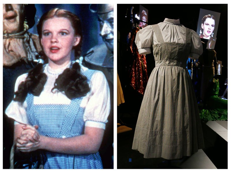 """Judy Garland portrays Dorothy in """"The Wizard of Oz."""" At right is the dress she wore."""
