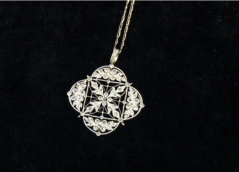 A platinum and diamond necklace recovered from the Titanic.