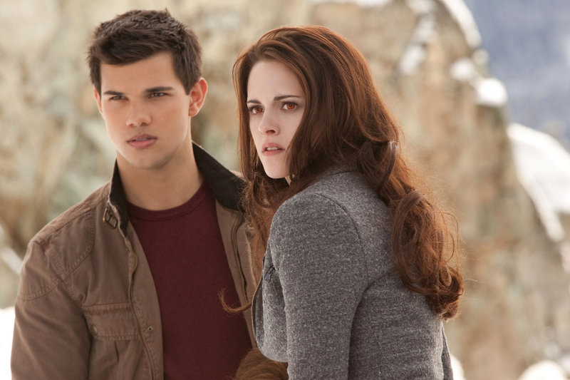 """Taylor Lautner and Kristen Stewart in the final chapter of """"The Twilight Saga."""""""