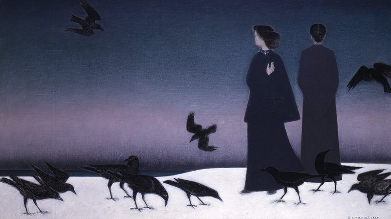 "Will Barnet's 1985 oil painting ""Winter Sky"" will be hung at the Portland Museum of Art this week in tribute to the artist, who died Tuesday in New York."