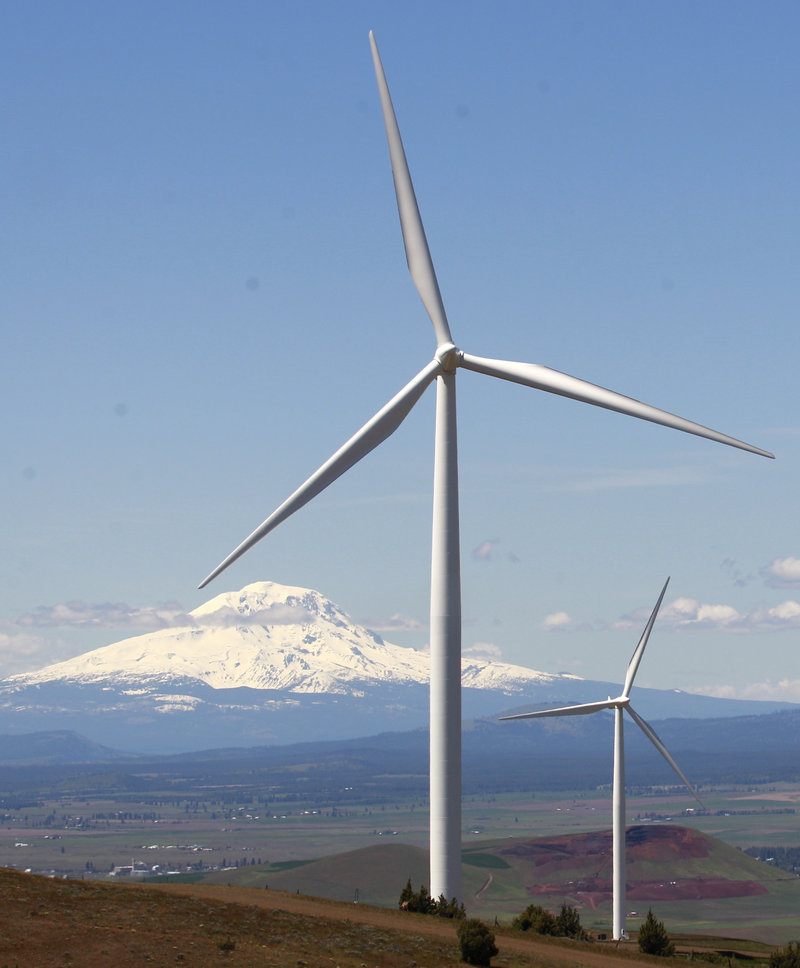 Wind turbines dot the Columbia River Gorge near Goldendale, Wash. The wind energy tax credit is due to expire at the end of the year.