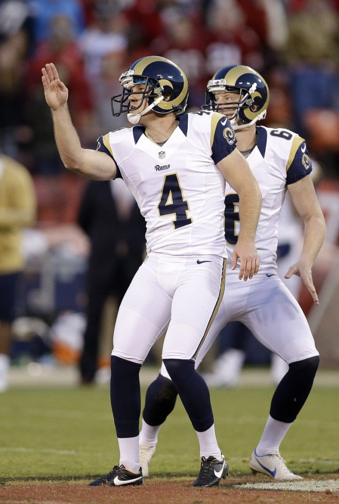Greg Zuerlein, kicker of the St. Louis Rams, tries to direct an errant field-goal attempt during overtime of Sunday's 24-24 tie with San Francisco.