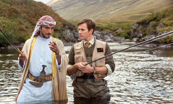 """Amr Waked and Ewan McGregor in """"Salmon Fishing in the Yemen,"""" the featured film this week at the York Public Library."""
