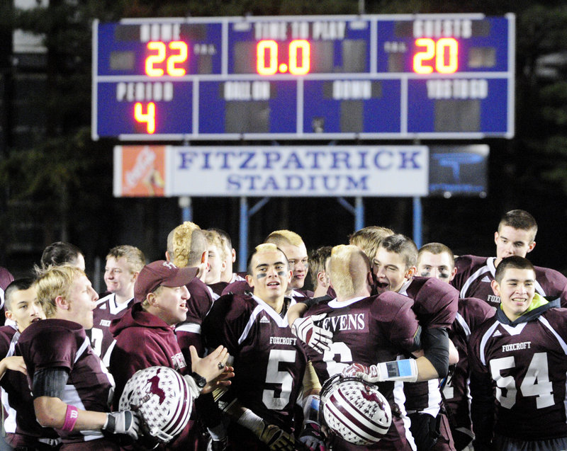 Game over and the Fitzpatrick Stadium scoreboard shows all that's needed to know. Foxcroft Academy became the Class C state champion Saturday, capping an 11-1 season with a 22-20 victory against Winslow.