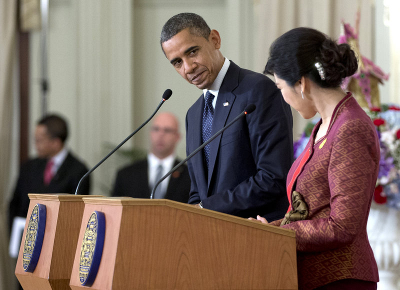 President Obama and Thai Prime Minister Yingluck Shinawatra acknowledge each other at a news conference in Bangkok, Thailand, on Sunday.