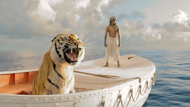 """Suraj Sharma plays the young Pi, who finds himself sharing a boat with a Bengal tiger named Richard Parker in """"Life of Pi."""""""