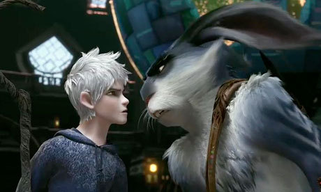 """Jack Frost and the Easter Bunny (voiced by Chris Pine and Hugh Jackman, respectively) in """"Rise of the Guardians."""""""