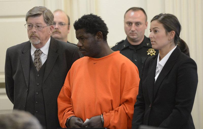 Lebon Bruno, center, appears in court on Monday, Nov. 19, 2012.