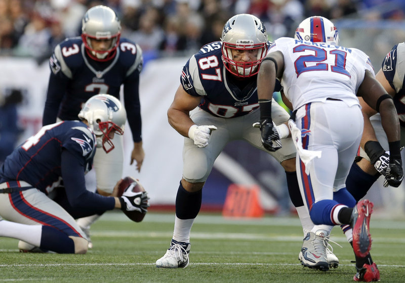 Rob Gronkowski became the first tight end in NFL history with at least 10 TDs in three consecutive seasons, catching two Sunday against the Colts.