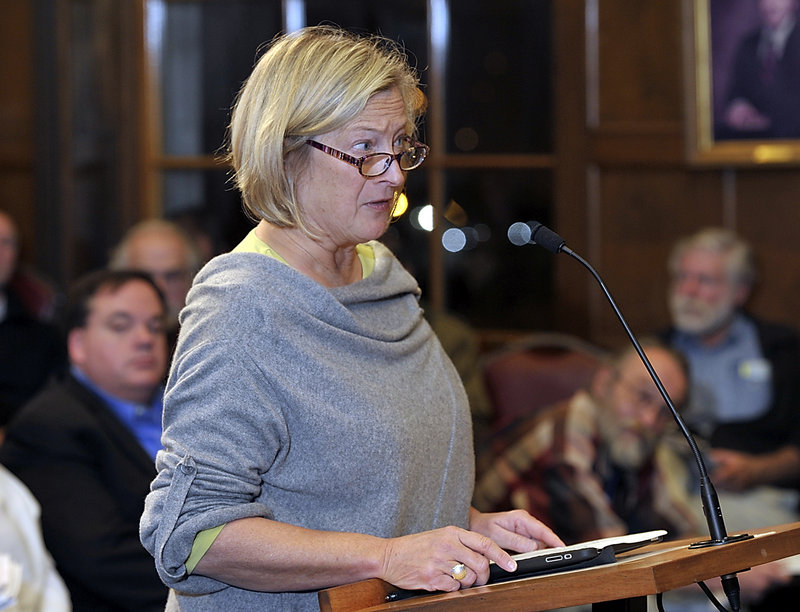 Beth Humstone, a board member of the Portland Downtown District, addresses the City Council on how Portland provides services to the homeless.