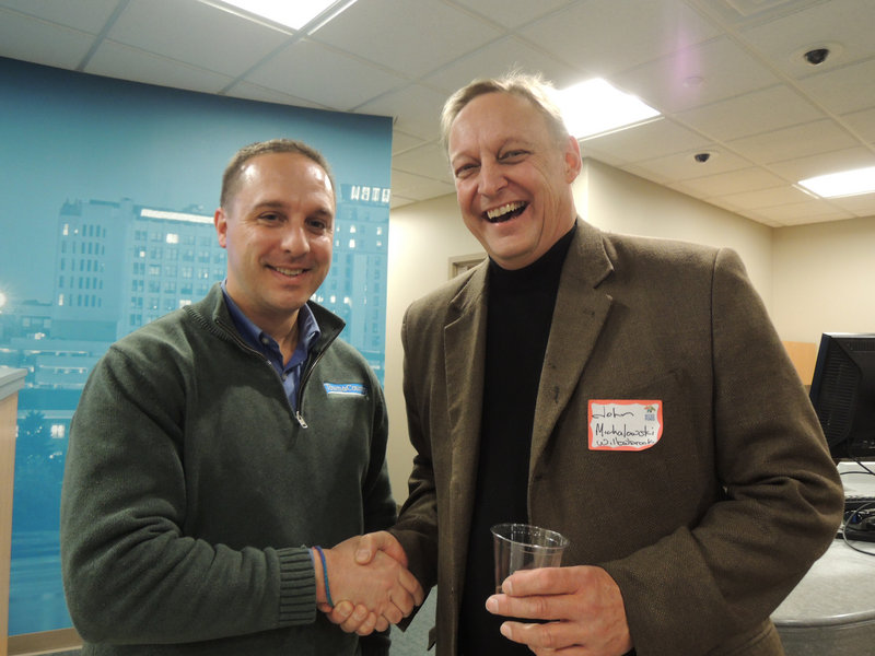 Bob Leger, CFO of Town & Country Federal Credit Union, and John Michalowski, director of 19th-century village Willowbrook, which received a Better Neighbor Fund grant last year.