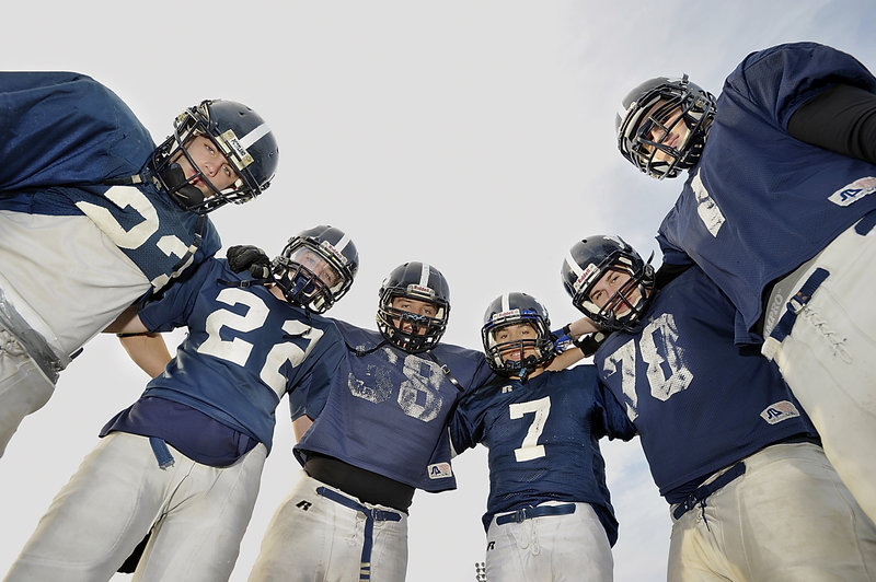 Portland High had 22 freshmen playing football in 2009, and six remained for all four years, enduring two tough seasons to go 6-4 this year. They are, from left: Nick Volger, Joe Nielsen, Tate Gale, Drew Graham, Kyle Reichert and Casey Mahoney. Thursday is their last game together.