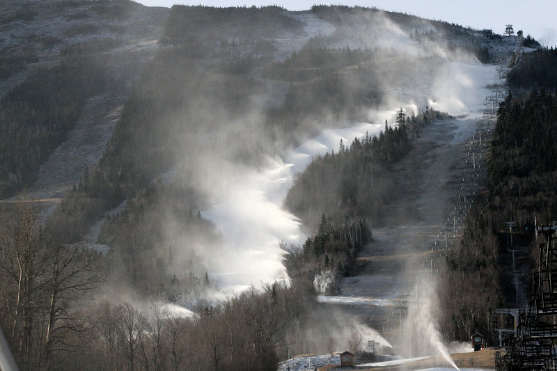 Low-energy snow guns have changed the economics of making snow at Sugarloaf, above, and Sunday River.
