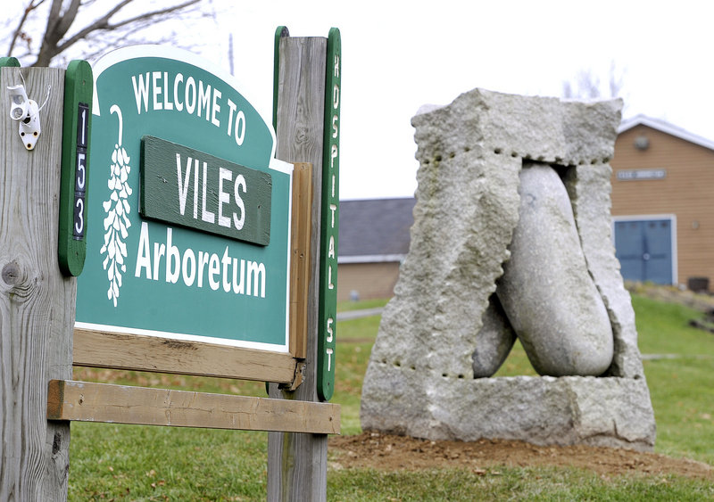 "Jesse Salisbury's ""Motion""greets visitors at the entrance to the Viles Arboretum in Augusta."