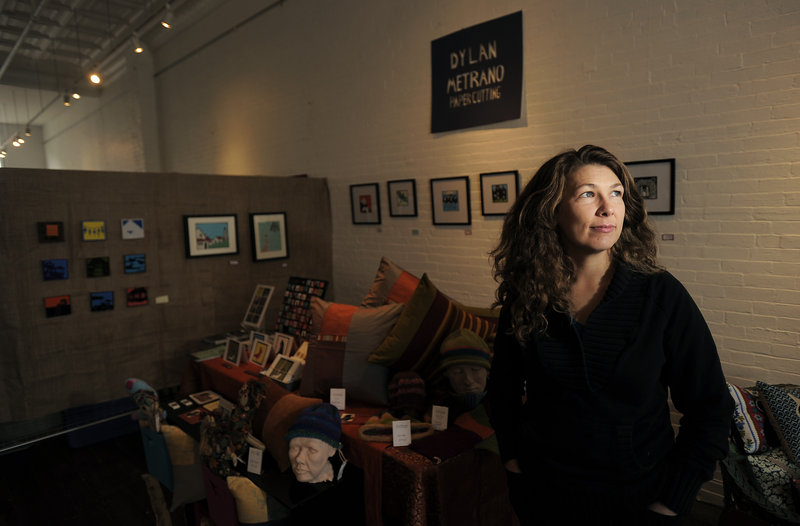"""Mandy Sabine is among the artists featured in a Biddeford co-op called """"Handmade on Main"""" that encourages people to shop locally for the holidays."""