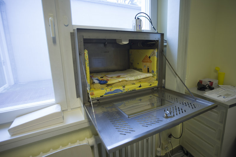 A view inside a baby hatch in a window at Waldfriede hospital in Berlin. There are nearly 100 baby boxes in Germany.