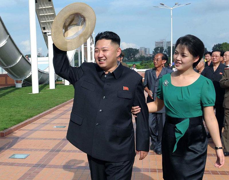 North Korean dictator Kim Jong Un and his wife, Ri Sol Ju.