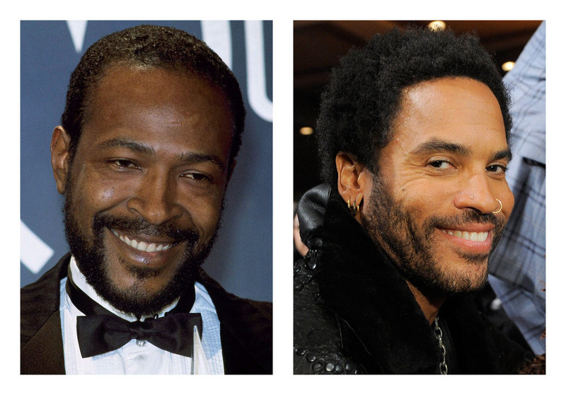 The late Marvin Gaye, left, will be portrayed by Lenny Kravitz.
