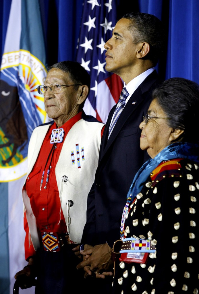 "President Obama, Crow tribal elder Hartford ""Sonny"" Black Eagle Jr. and his wife, Mary Black Eagle, appear at the White House Tribal Nations Conference last December."