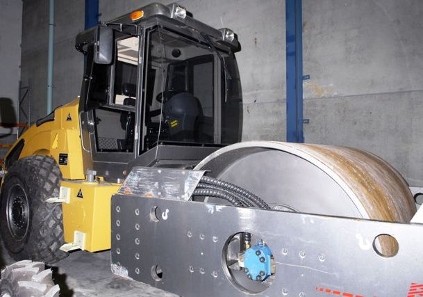 This photo released by the Australian Federal Police shows the steamroller that was used to hide drugs.