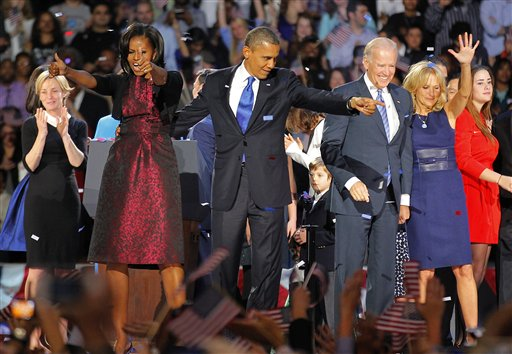 In this Nov. 6 file photo, President Barack Obama, joined by his wife Michelle, Vice President Joe Biden and his spouse Jill acknowledge applause after Obama delivered his victory speech on Election Night.