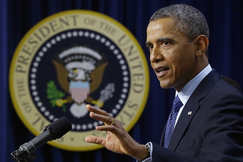 President Barack Obama gestures as he speaks about the fiscal cliff, Monday, Dec. 31, 2012, in the South Court Auditorium at the White House in Washington. The president said it appears that an agreement to avoid the fiscal cliff is