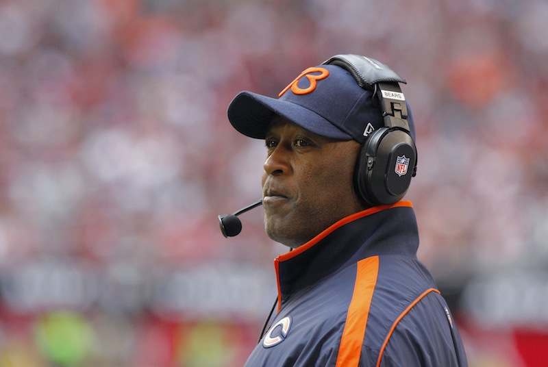 In a Dec. 23, 2012 file photo Chicago Bears head coach Lovie Smith watches his team during the first half of an NFL football game against the Arizona Cardinals in Glendale, Ariz. The Chicago Bears have fired coach Lovie Smith after the team missed the playoffs for the fifth time in six seasons. (AP Photo/Rick Scuteri)