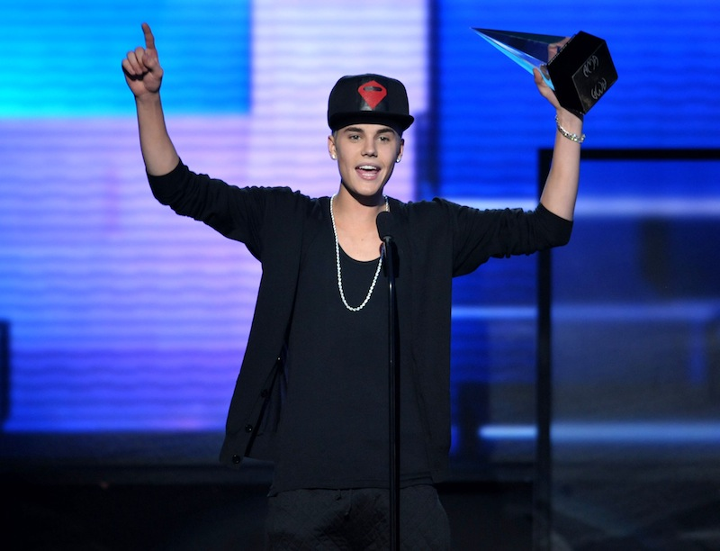 In this Nov. 18, 2012 file photo, Justin Bieber accepts the award for favorite album - pop/rock for