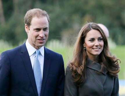Britain's Prince William, left, and his wife Kate, the Duchess of Cambridge, in an Oct. 9, 2012, photo.