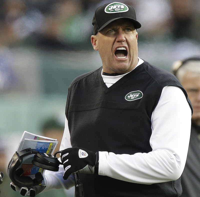New York Jets head coach Rex Ryan reacts during the second half of an NFL football game against the San Diego Chargers, Sunday, Dec. 23, 2012, in East Rutherford, N.J. (AP Photo/Kathy Willens) NFLACTION12;