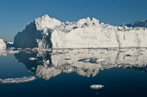This iceberg calved recently in the Ilulissat fjord west of Greenland. Polar ice sheets are now melting three times faster than in the 1990s.