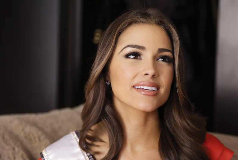 The morning after winning the Miss Universe pageant, Olivia Culpo answers questions during an interview,Thursday, Dec. 20, 2012, in Las Vegas. The 20-year-old Rhode Islander who brought the Miss Universe crown back to the U.S. for the first time in 15 years is hoping that her quick rise through the beauty pageant ranks and an onstage stumble will show women that anything is possible. (AP Photo/Julie Jacobson)