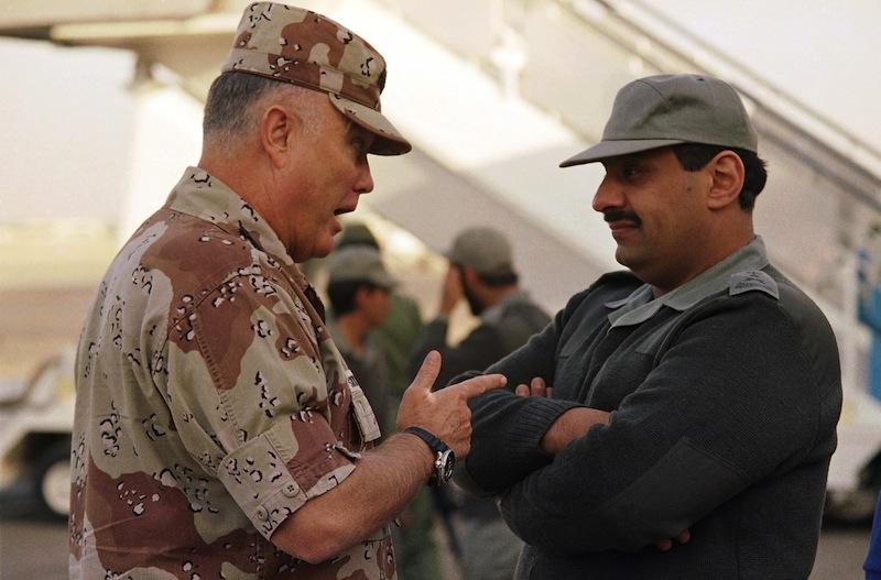 Gen. Norman Schwarzkopf, then commander of U.S. forces in the Gulf, left, confers with Saudi Arabian Lt. Gen. Khalid Bin Sultan, commander of multinational forces in the area, in Riyadh in 1990.