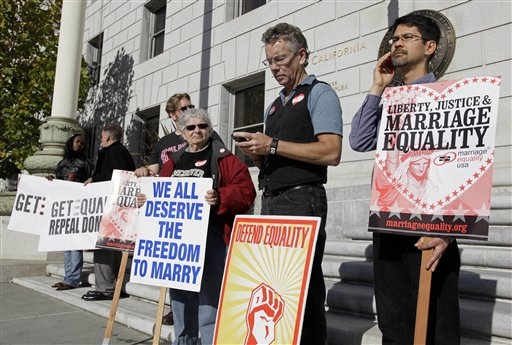 Gay marriage supporters protest outside the California Supreme Court in San Francisco in this Nov. 17, 2011, photo. The Supreme Court will take up California's ban on same-sex marriage, a case that could give the justices the chance to rule on whether gay Americans have the same constitutional right to marry as heterosexuals.