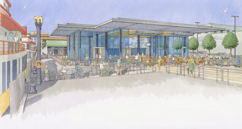 An artist's rendering of the exterior of the new waiting room, which will be twice the size of the existing waiting room and allow passengers to watch the boats come and go.