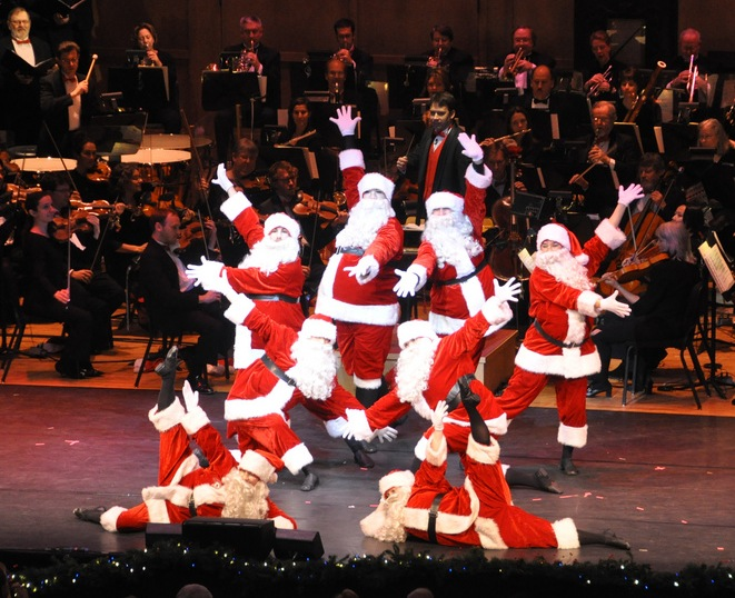 """The Portland Symphony Orchestra's """"Magic of Christmas"""" shows include dancing Santas and other performers."""