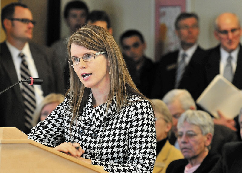 Mary Mayhew, commissioner of the Department of Health and Human Services, speaks during her confirmation hearing before the Legislature's Health and Human Services committee. A reader blames MaineCare problems on poor leadership.