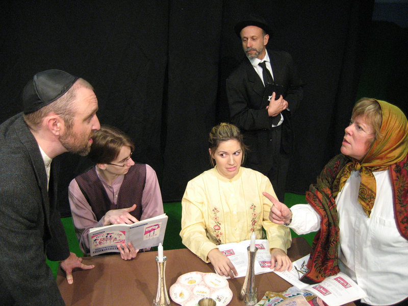 """The cast of """"The Legend of the Golem"""" – from left, Josh Brassard, Tristan Rolf, Kara Haupt, Hal Cohen and Brenda Chandler – which concludes its run at Acorn Studio Theater in Westbrook with performances Thursday through Sunday."""